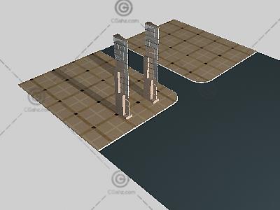 方形景观灯柱3D模型