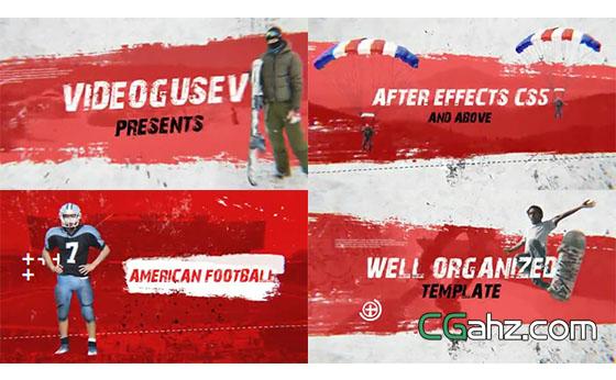 笔刷和油墨喷溅主题的体育赛事宣传AE模板