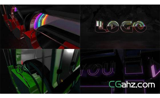 闪烁律动的3D霓虹灯标志演绎AE模板