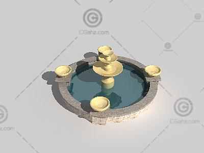 圆形喷泉3D模型