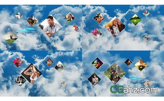 白云中漂浮着的方形图片展示AE模板