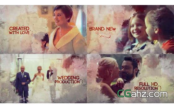 水墨晕染共同装饰的婚礼影像展示AE模板
