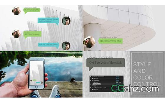 手机微信或短信的聊天对话消息AE工程