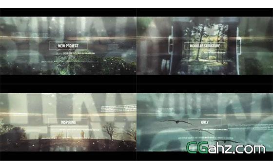 线框内的文字标题和图像交替展示AE模板