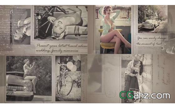 复古黑白图像的明信片展示AE工程
