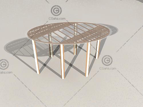 圆形景观廊架3D模型
