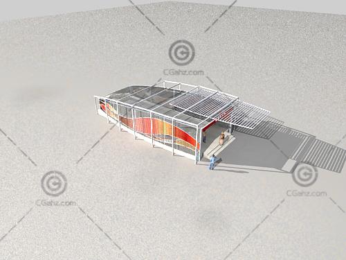鸟瞰地铁入口3D模型