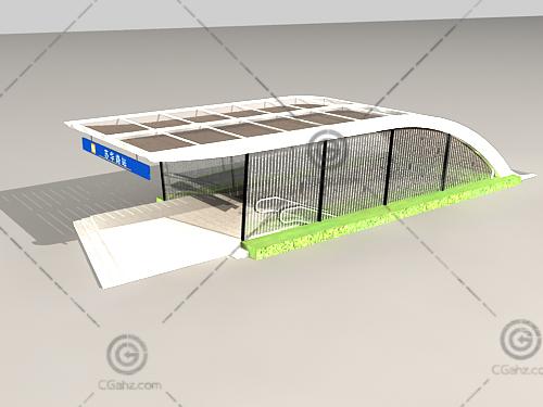 现代地铁入口3D模型