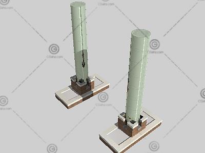 圆形灯柱3D模型