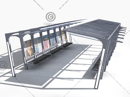 公交候车厅3D模型