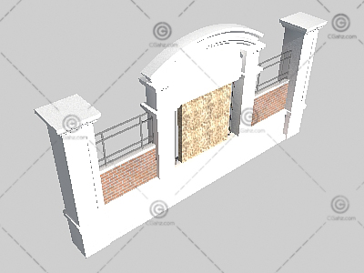 欧式景观墙3D模型