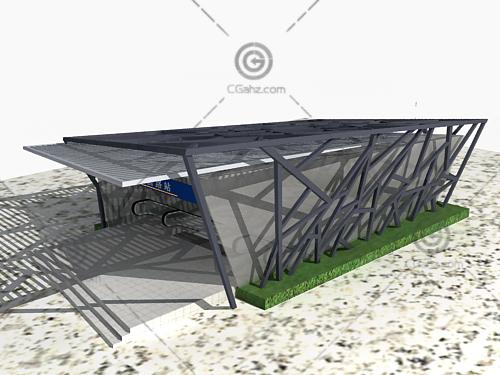 黑色钢架地铁入口3D模型