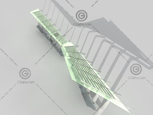 带座位的钢架廊架3D模型
