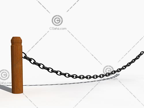 木头柱子铁链围栏3D模型