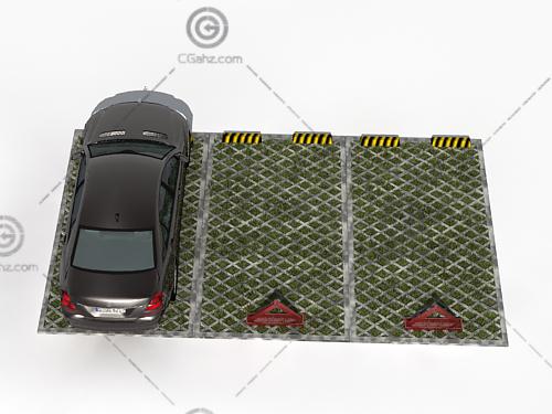 汽车和精致的停车位3D模型