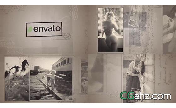 复古黑白图像的明信片展示AE模板