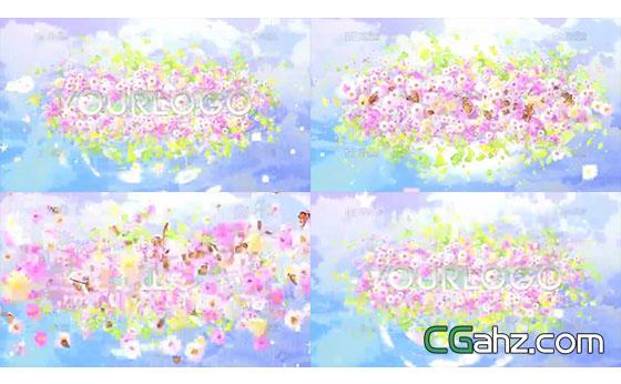 鲜花与蝴蝶簇拥着的logo标志AE模板