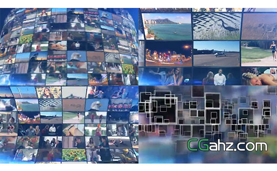 3D效果LED视频屏幕展示墙AE模板