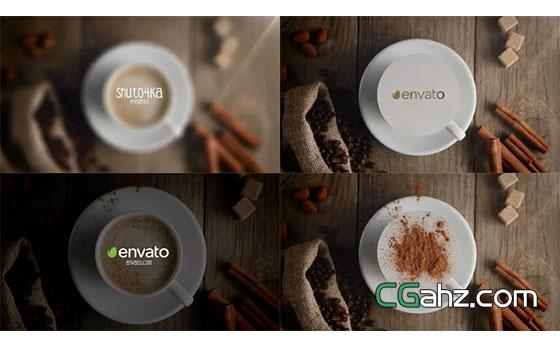 创意咖啡主题标志开场AE模板