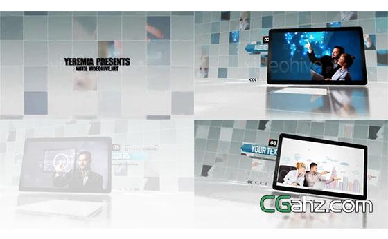 墻壁和地面都是網格的企業商務展示AE模板