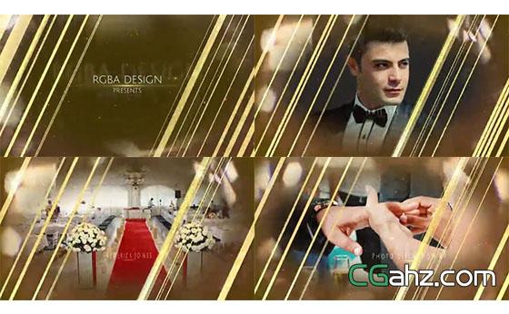 金色婚礼主题包装AE模板
