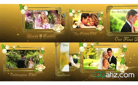 高贵金色系婚礼纪念相册AE模板