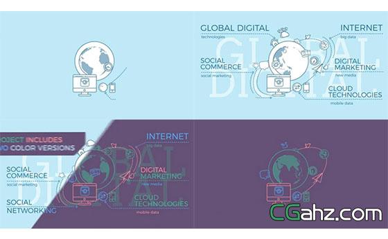 象征全球数字互联通信网络的概念动画AE模板
