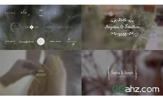 婚礼字幕条文字标题动画AE模板