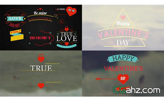 情人节爱情主题的文字标签动画设计AE模板
