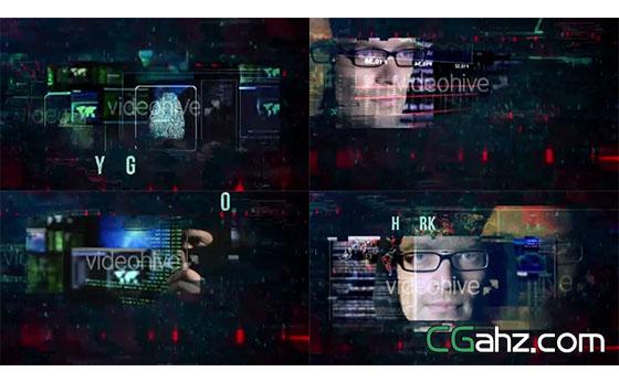 黑客数字科幻特效的内容展示AE模板