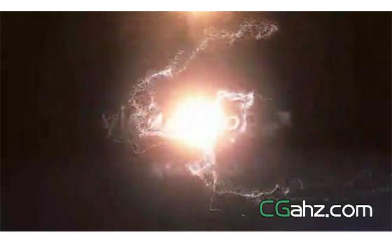 魔法粒子光束汇聚成闪亮的logo标志AE模板