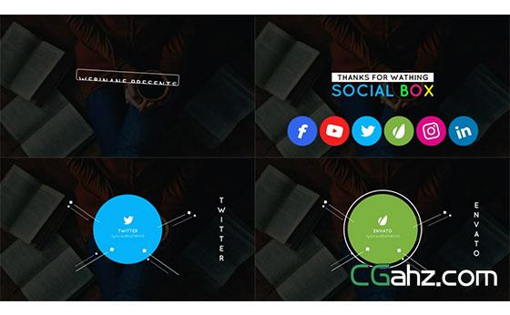 简单流畅的社交地址展示动画AE模板