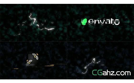 闪电毛刺标志演绎特效logo演绎AE模板