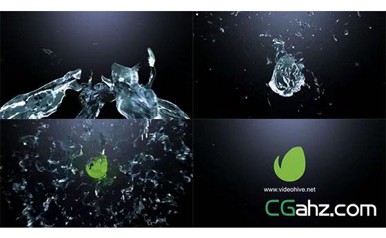水流汇聚又飞溅开来的logo揭示开场AE模板