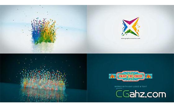 三维彩色粒子溅起的标志演绎开场AE模板