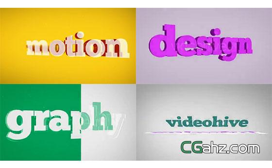 多彩文字标题排版展示动画片头AE模板