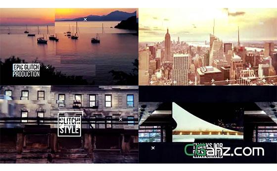故障错位特效的城市剪辑宣传片AE模板