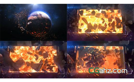 石块爆炸图片揭示开场AE模板