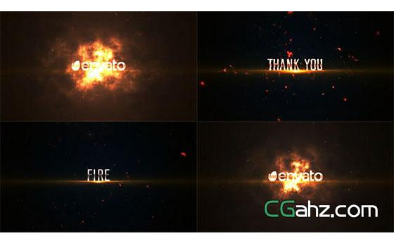 震撼的火焰冲击爆炸标题特效开场AE模板