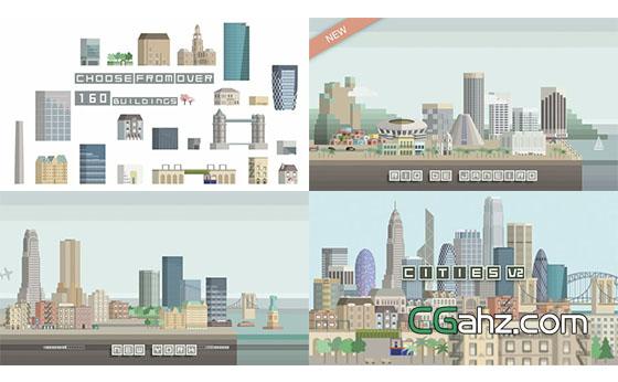 趣味卡通城市建筑物生长动画素材集