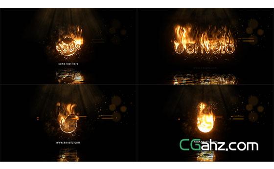 真实火焰燃烧文字Logo展示片头AE模板