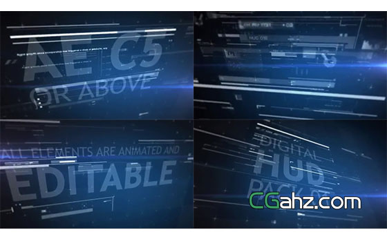 高科技HUD全息元素素材集AE模板