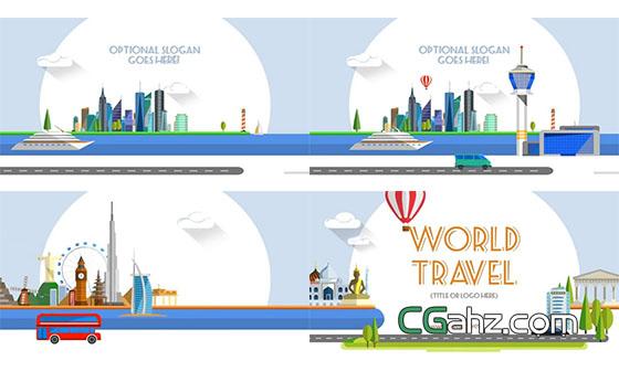 平面动画风格的世界之旅包装片头AE模板