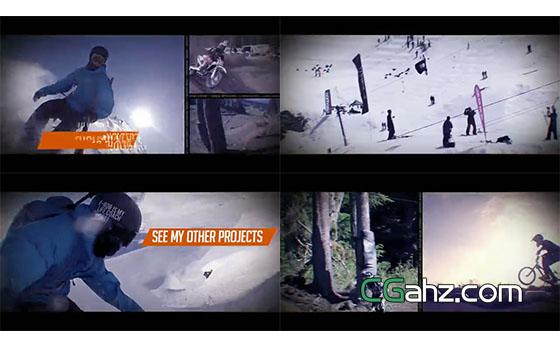 分屏组合展示的动感宣传片头AE模板