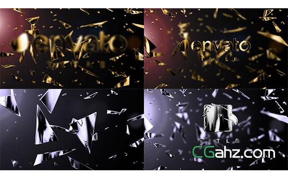 金色碎片文字Logo动画展示AE模板