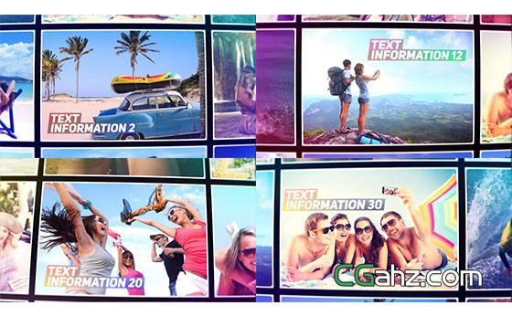 夏天旅游回忆照片墙开场展示AE模板