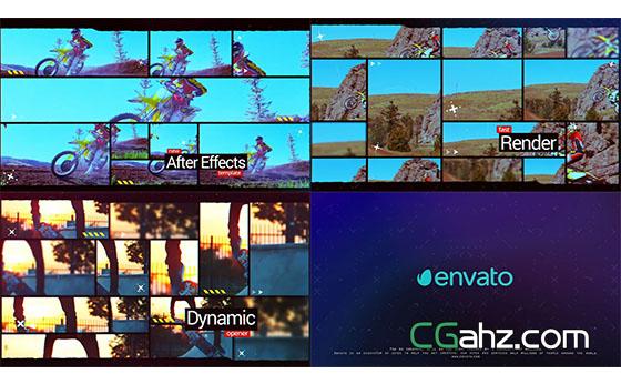 动态时尚分屏活力视频开场展示AE模板