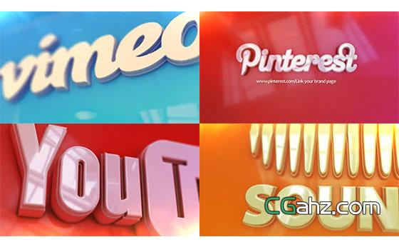 3D效果logo图标演绎动画AE模板