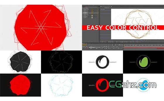 扭曲线条和快速的标志演绎动画AE模