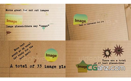 在作业本纸张上打字的逐帧动画AE模板
